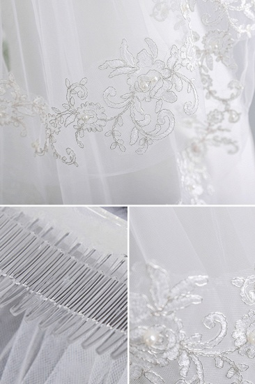 Floral Pretty Tulle Lace Cut Edge Wedding Veil with Appliques Sequined_4