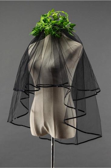 Sexy Black Tulle Ribbon Edge Wedding Veil_4