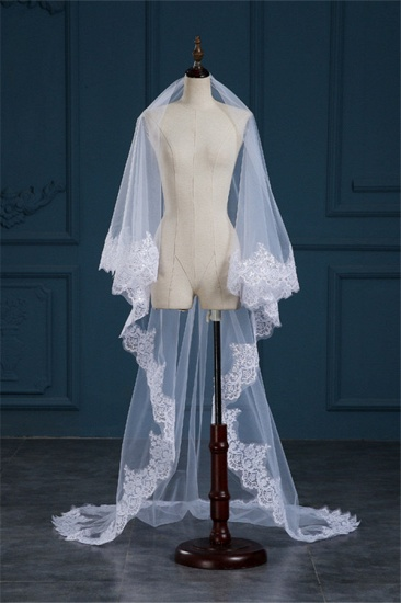 BMbridal Exquisite Tulle Lace Applique Edge Wedding Veil with Sequined_4