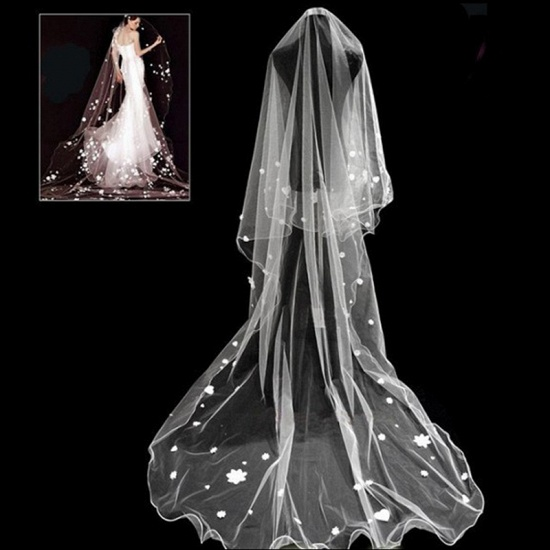 BMbridal Floral Pretty Glamourous Tulle Pencil Edge Wedding Veil_4