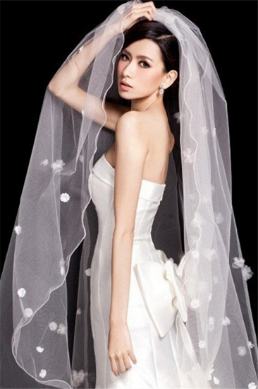 BMbridal Floral Pretty Glamourous Tulle Pencil Edge Wedding Veil
