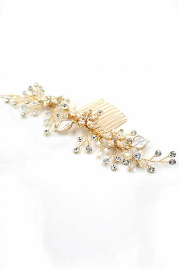 BMbridal Beautiful Alloy Rhinestone Wedding Combs-Barrettes Headpiece with Imitation Pearls_9