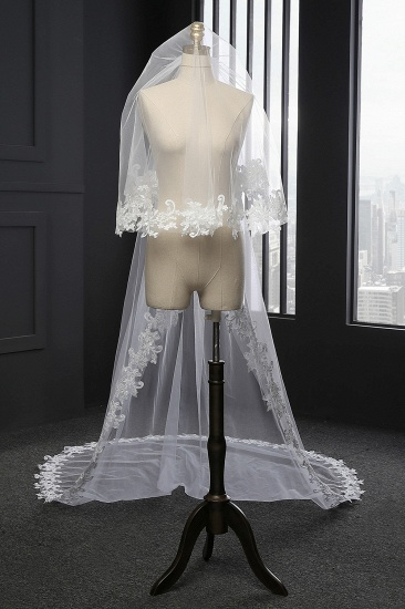 BMbridal Glamourous Tulle lace Applique Edge Wedding Veil