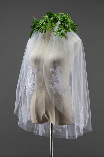 BMbridal Floral Pretty Tulle Cut Edge Wedding Veil with Appliques Sequined_3