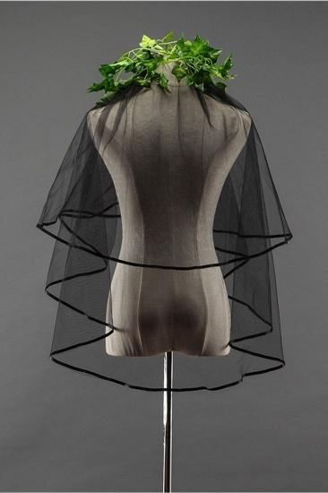 Sexy Black Tulle Ribbon Edge Wedding Veil_3