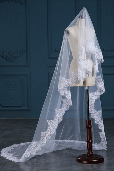 BMbridal Exquisite Tulle Lace Applique Edge Wedding Veil with Sequined_3