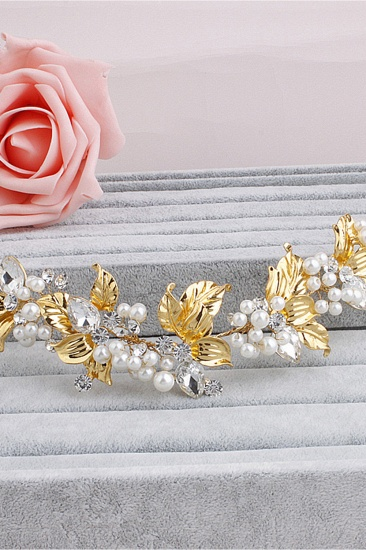 Glamourous Alloy Imitation Pearls Special Occasion Hairpins Headpiece with Rhinestone_4