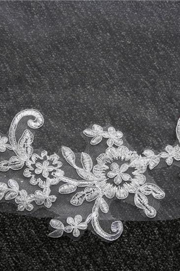 Glamourous Tulle lace Applique Edge Wedding Veil_8