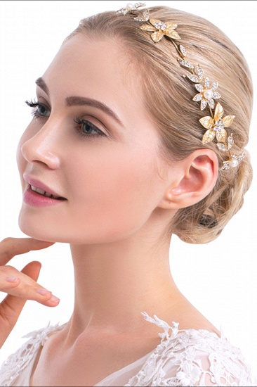 Floral Alloy Imitation Pearls Daily Wear Hairpins Headpiece with Rhinestone