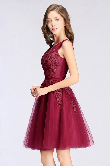 BMbridal A-line Knee-length Tulle Prom Dress with Appliques_13