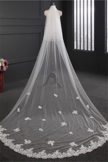 BMbridal Glamourous Lace Applique Edge Wedding Veil with Appliques