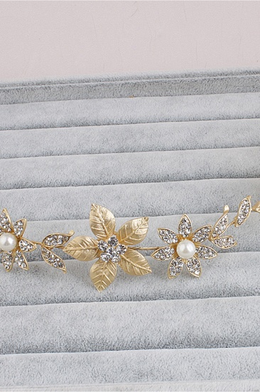 BMbridal Floral Alloy Imitation Pearls Daily Wear Hairpins Headpiece with Rhinestone_6