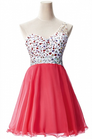 BMbridal A-line One Shoulder Chiffon Party Dress With Crystal_1