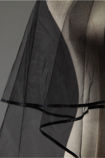 Sexy Black Tulle Ribbon Edge Wedding Veil_5