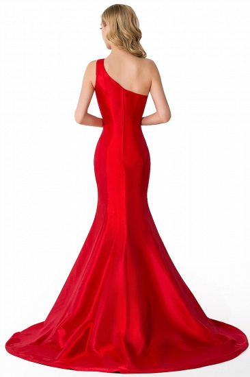 BMbridal One Shoulder Red Mermaid Long Party Gowns_9