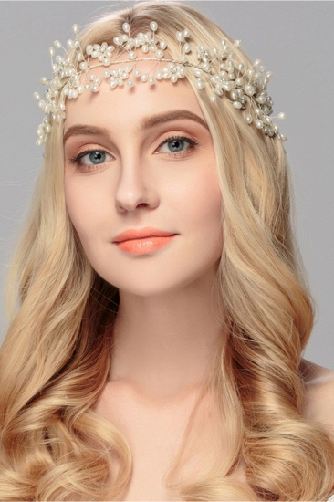 Beautiful Alloy Imitation Pearls Party Headbands Headpiece with Rhinestone_4