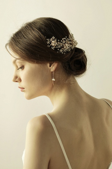BMbridal Exquisite Elegant Alloy Rhinestone Special Occasion Wedding Headbands Headpiece with Imitation Pearls