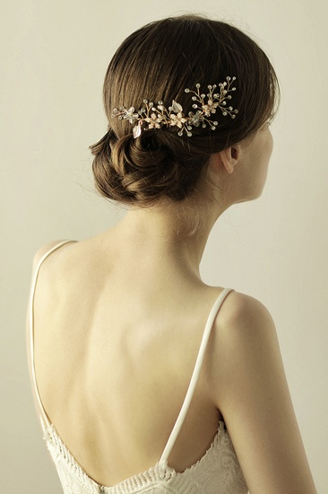 Beautiful Alloy Rhinestone Wedding Combs-Barrettes Headpiece with Imitation Pearls_5