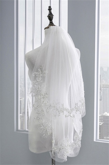 BMbridal Floral Pretty Tulle Lace Cut Edge Wedding Veil with Appliques Sequined