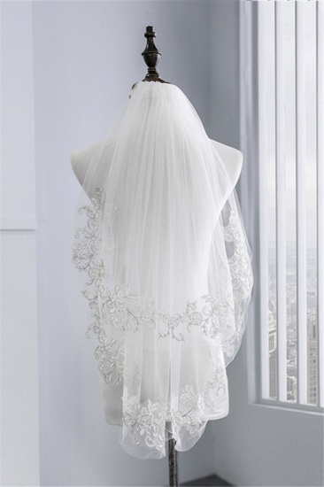 Floral Pretty Tulle Lace Cut Edge Wedding Veil with Appliques Sequined_3