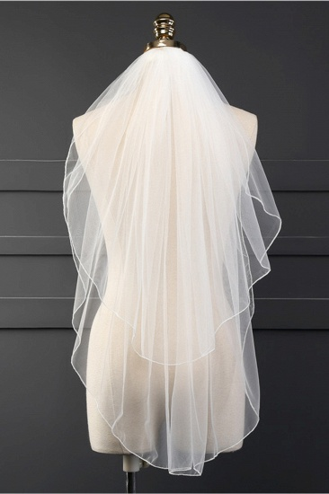 Affordable Tulle Cut Edge Wedding Veil_1
