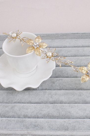BMbridal Floral Alloy Imitation Pearls Daily Wear Hairpins Headpiece with Rhinestone_3