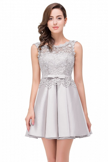 BMbridal A-line Knee-length Satin Homecoming Dress with Lace_4
