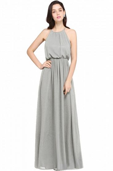 Simple A-line Halter Navy Chiffon Long Bridesmaid Dresses In Stock_5