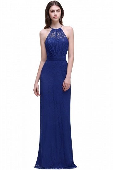 BMbridal Pretty Floor length Navy blue Halter Lace Prom Dress_2