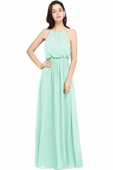 Simple A-line Halter Navy Chiffon Long Bridesmaid Dresses In Stock_6