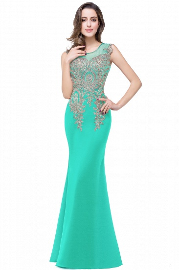 BMbridal Black Mermaid Long Prom Dress With Lace Appliques_7