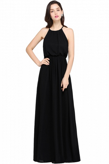 BMbridal Simple A-line Halter Navy Chiffon Long Bridesmaid Dresses In Stock_4
