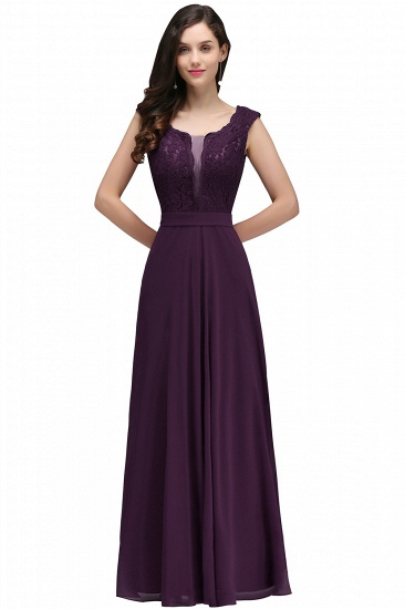 BMbridal Elegant Lace A-line Long Burgundy Prom Dress_3