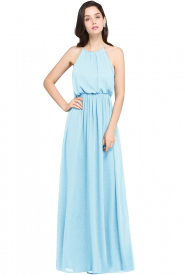 Simple A-line Halter Navy Chiffon Long Bridesmaid Dresses In Stock_4