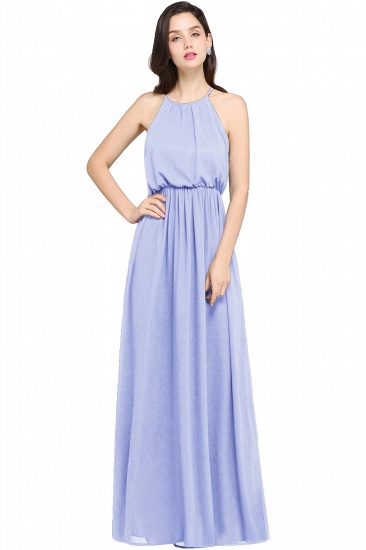 Simple A-line Halter Navy Chiffon Long Bridesmaid Dresses In Stock_3