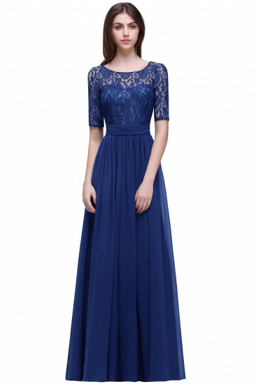 BMbridal Half-Sleeve Lace Long Chiffon Evening Dress_5