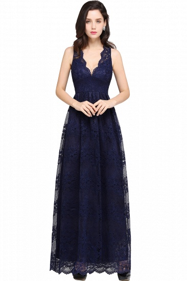 Chic Sheath V-Neck Navy Lace Bridesmaid Dresses Online In Stock_6