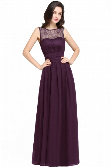 Sexy Black Chiffon Lace Long Cheap Bridesmaid Dresses In Stock_2