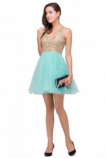 BMbridal Short Tulle A-line V-Neck Appliques Sleeveless Prom Dress_10