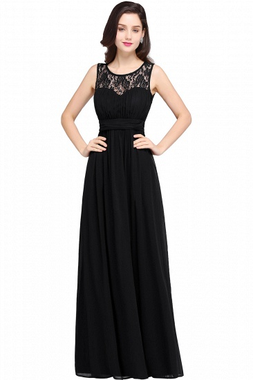 Elegant Lace Chiffon Affordable Long Navy Bridesmaid Dresses In Stock_5