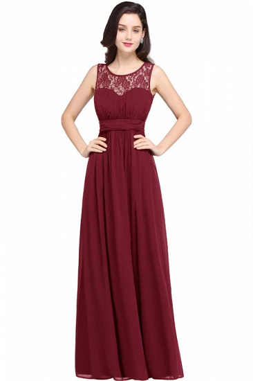 Elegant Lace Chiffon Affordable Long Navy Bridesmaid Dresses In Stock_1
