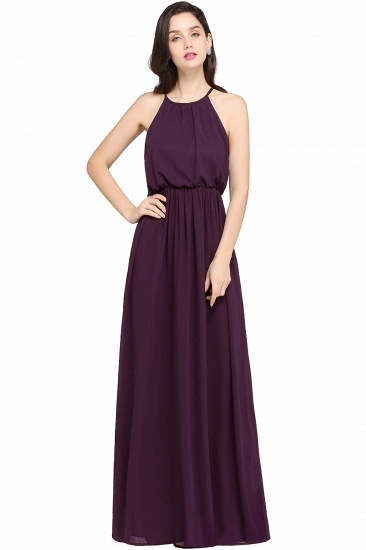 Simple A-line Halter Navy Chiffon Long Bridesmaid Dresses In Stock_2