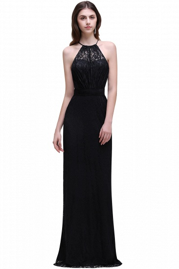 BMbridal Pretty Floor length Navy blue Halter Lace Prom Dress_4