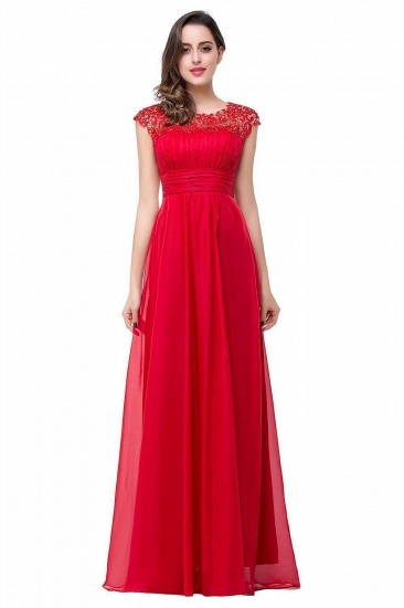 Affordable A-Line Jewel Red Chiffon Lace Bridesmaid Dress In Stock_1