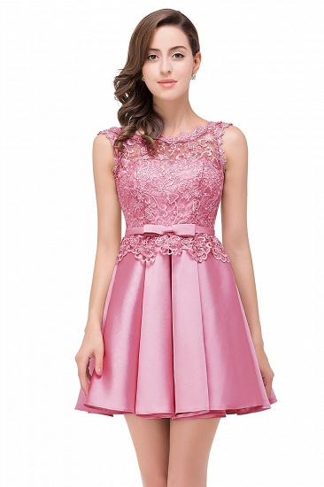 BMbridal A-line Knee-length Satin Homecoming Dress with Lace_2