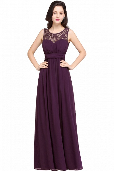 Elegant Lace Chiffon Affordable Long Navy Bridesmaid Dresses In Stock_2