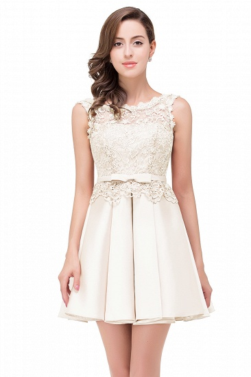 BMbridal A-line Knee-length Satin Homecoming Dress with Lace_1