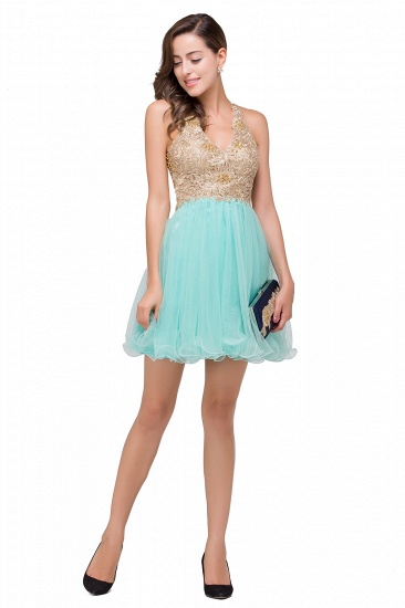BMbridal Short Tulle A-line V-Neck Appliques Sleeveless Prom Dress_9
