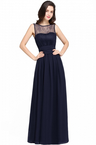 Sexy Black Chiffon Lace Long Cheap Bridesmaid Dresses In Stock_5
