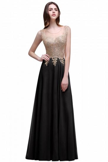 BMbridal Elegant Sheer Lace Applique Chiffon Floor Length Long Evening Dress_3